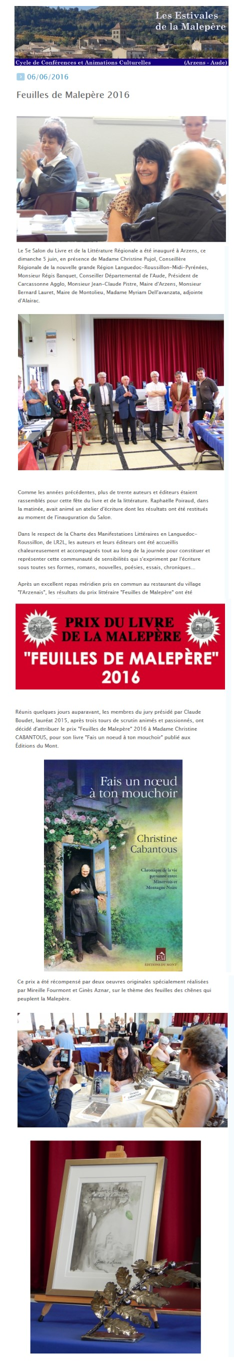 C.Cabantous - Prix Malepère 2016